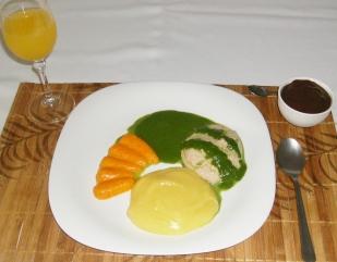 Purê batatas, Frango com molho Espinafre e Cenoura. Creme de Chocolate de Sobremesa! Foto: Fonocozinhando