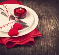 Festive table setting for Valentine's Day